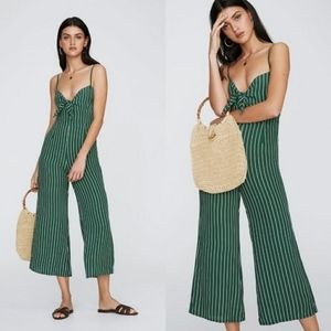 Faithfull the Brand Presley Green Striped Jumpsuit